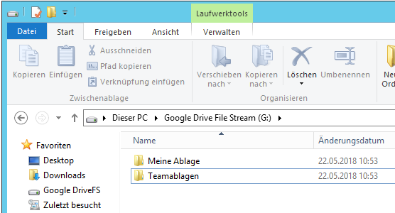 Google Drive File Stream auf Windows Server