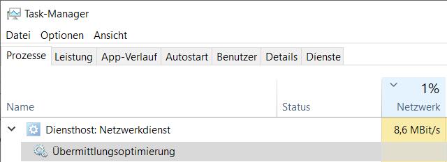 Windows Übermittlungsoptimierung deaktivieren